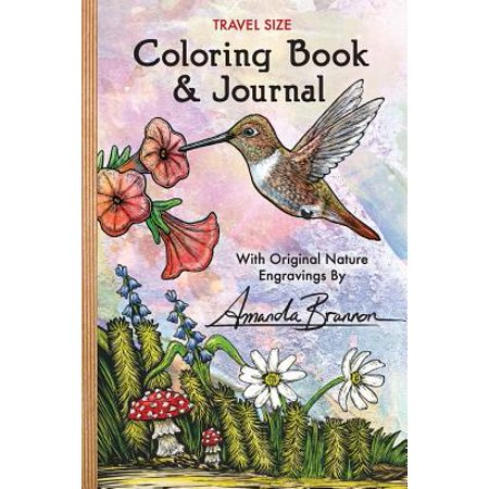 Travel Size Coloring Book & Journal : With Original Nature Engravings by Amanda