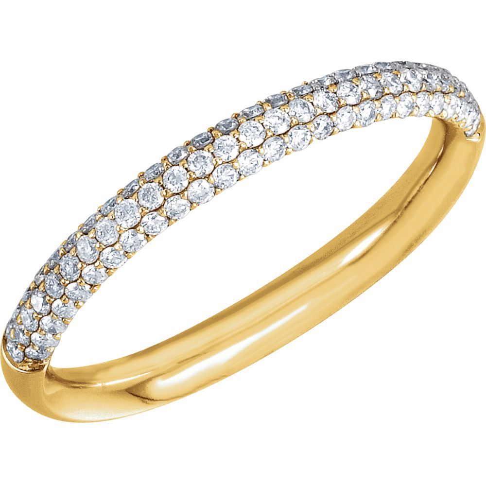 Gemaffair 14K Yellow Gold White Diamond 3-Row Pave Round ...