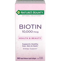 Nature's Bounty Biotin Softgels, 10,000 mcg, 90 Ct