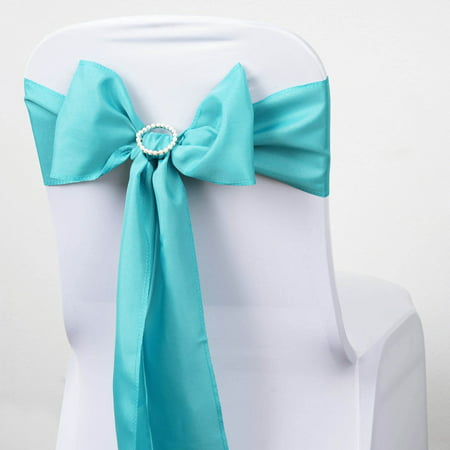 BalsaCircle 5 pcs Polyester Chair Sashes Bows Ties - Wedding Party Ceremony Reception Event Decorations Unique Supplies (White Lanterns For Weddings)