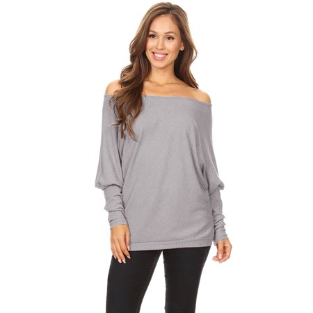 e56071193b Feinuhan - Casual Women s Off Shoulder Ribbed Knit Oversized Cardigan  Pullover Tops Sweater Shirts - Walmart.com
