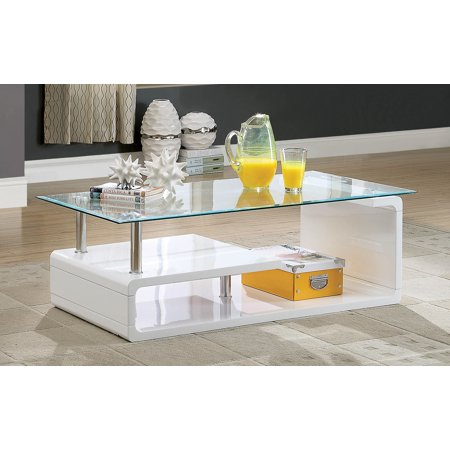Furniture Of America Neko Contemporary Gl Top White Coffee Table