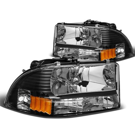 - For 97-04 Dodge Dakota/Durango Bumper Corner Headlight Black Housing Amber Reflector Headlamp 98 99 00 01 02 03 Left+Right
