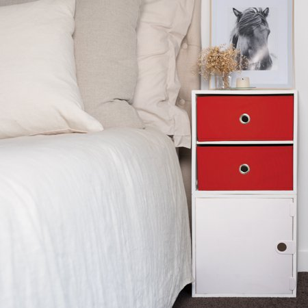 iCube 2-Drawer Nightstand, White with Red Drawers ()