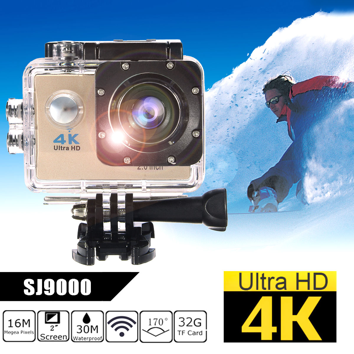 "Waterproof 2.0"" LCD Screen 4K SJ9000 Wifi 1080P HD Sports Action Camera DVR Cam Camcorder"