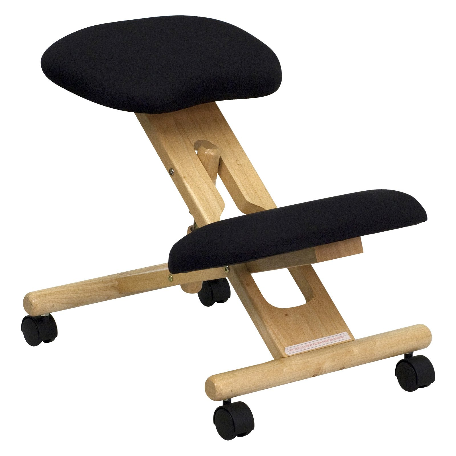 Wooden Ergonomic Kneeling Posture Office Chair, Black