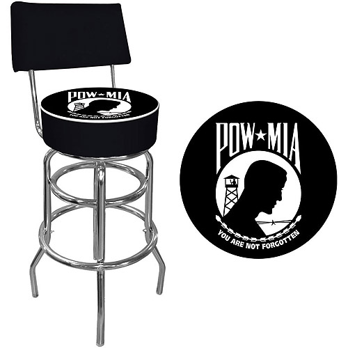 "Trademark POW 40"" Padded Bar Stool with Back, Chrome"