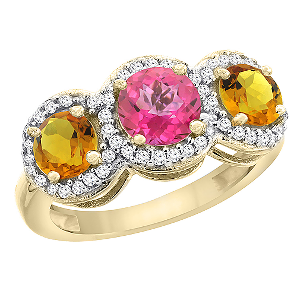 14K Yellow Gold Natural Pink Topaz & Citrine Sides Round 3-stone Ring Diamond Accents, size 5.5 by Gabriella Gold
