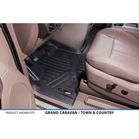 Maxliner 2008 2017 Dodge Grand Caravan Chrysler Town   Country Floor Mats First Row Set One Piece Black A0213