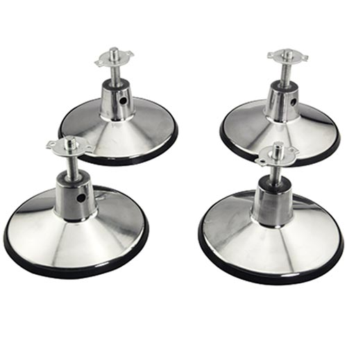 Billiard Pool Table Leg Levelers Set of 4 with 6 Inch base and rubber molding