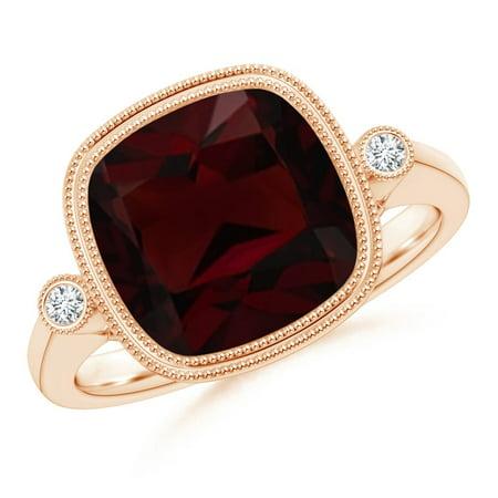 Valentine Jewelry Gift - Bezel Set Cushion Garnet Ring with Milgrain Detailing in 14K Rose Gold (10mm Garnet) - SR1069GD-RG-A-10-7