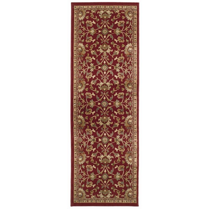"Oriental Weavers Amelia 2'6"" x 7'9"" Machine Woven Runner Rug in Red"