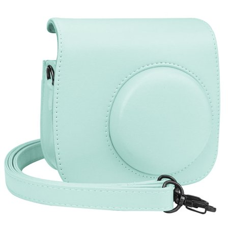 Fujifilm Instax Mini 9 Case, Epicgadget(TM) Premium Leather Protective Case with Shoulder Strap and Pocket for Fujifilm Instax Mini 8 8+ / Mini 9 Instant Camera (Ice Blue) ()