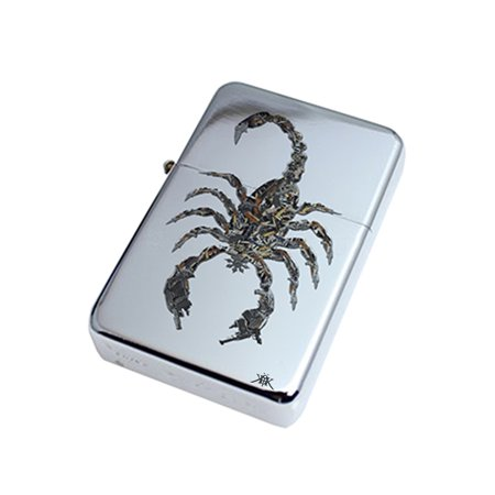- KuzmarK Silver Windproof Flip Top Lighter -  Scorpion Guns