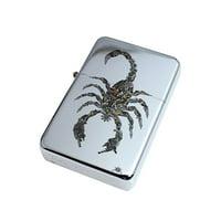 KuzmarK Silver Windproof Flip Top Lighter -  Scorpion Guns