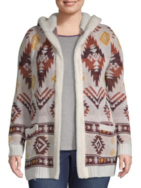 No Boundaries Juniors' Plus Size Sherpa Lined Hooded Cardigan