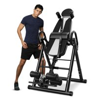 Foldable Gravity Inversion Table Chiropractic Back Exercise Stretcher, Heavy Duty Inversion Table 330 lbs Capacity for Back Pain Relief Therapy - Black