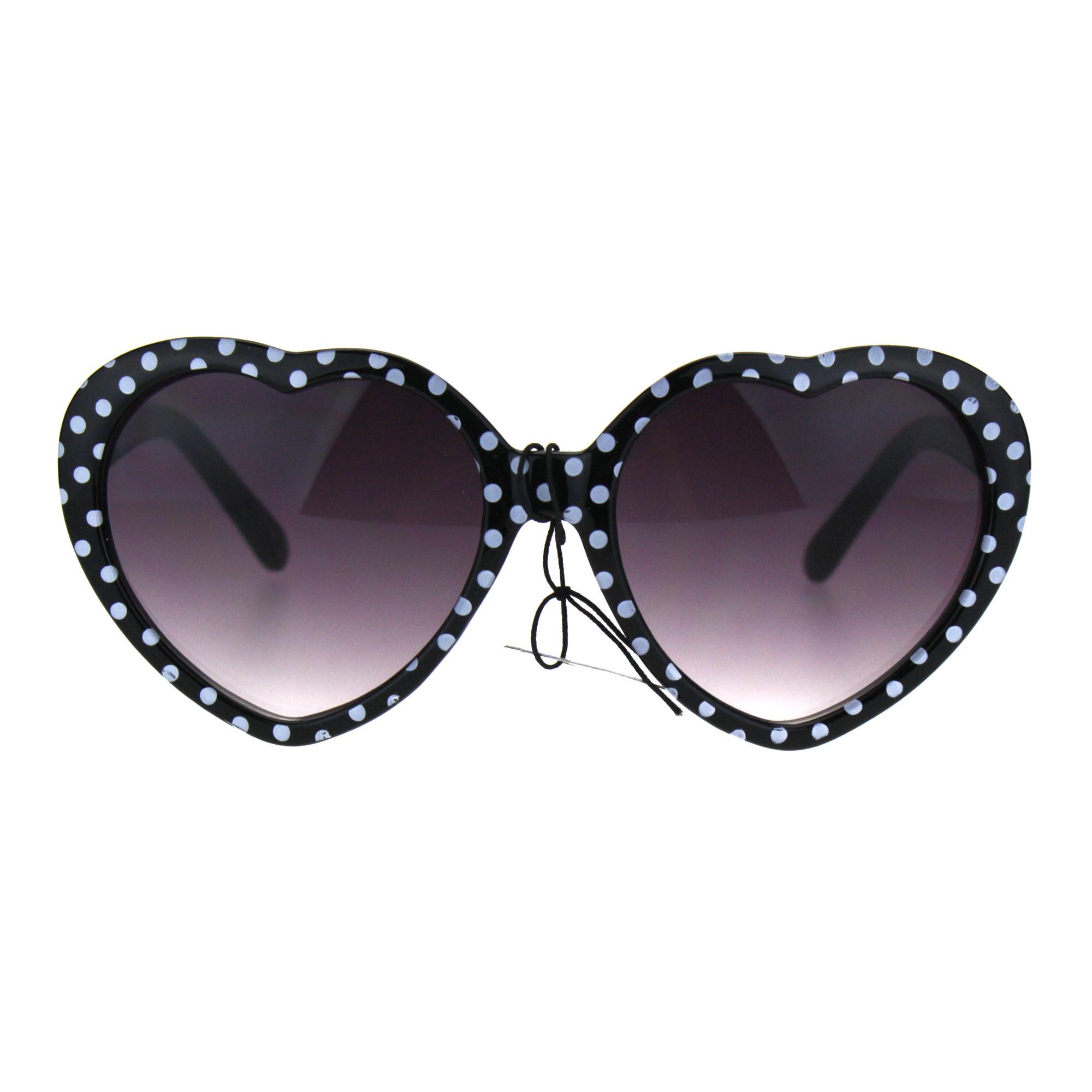 Girls Child Size Retro Polka Dot Valentine Love Plastic Sunglasses Black