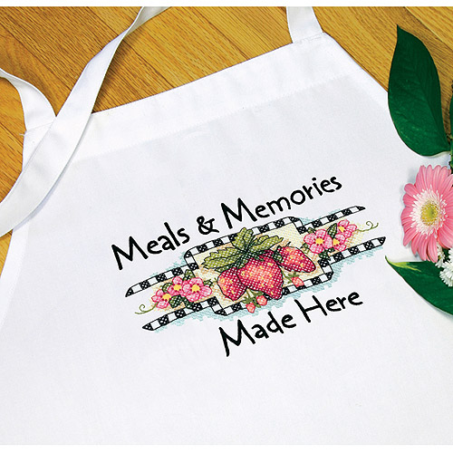 """Dimensions """"Meals and Memories"""" Apron Stamped Cross Stitch"""