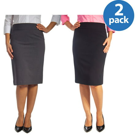 George Womens Classic Career Suiting Pencil Skirt 2 Pack Value Bundle