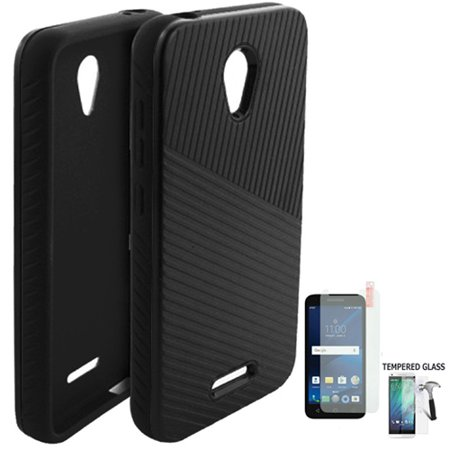 Case for Tracfone Alcatel Raven A574BL, Alcatel IdealXcite (AT&T), Alcatel CameoX, Alcatel Verso Tempered Glass with Embossed Lines Cover ( Lines Black-Black/ Tempered