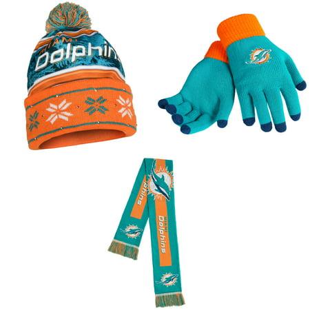 ba80b27d NFL Glove Solid Knit Big Logo Scarf And Beanie Wordmark Hat 3 Pack Bundle