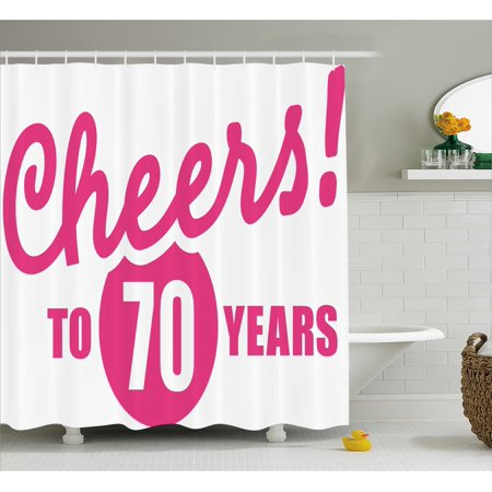 70th Birthday Shower Curtain Cheers To 70 Years Old Hand Written Calligraphy Party Image