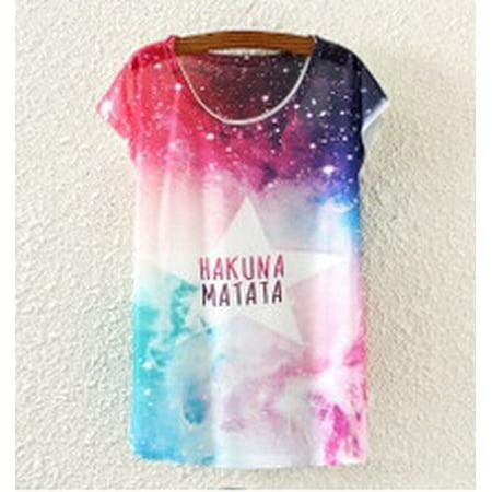 Women Loose Cotton Short Sleeve Necklace Owl Print Shirt Summer Tee Blouse Tops (Gta 3 Shirt)