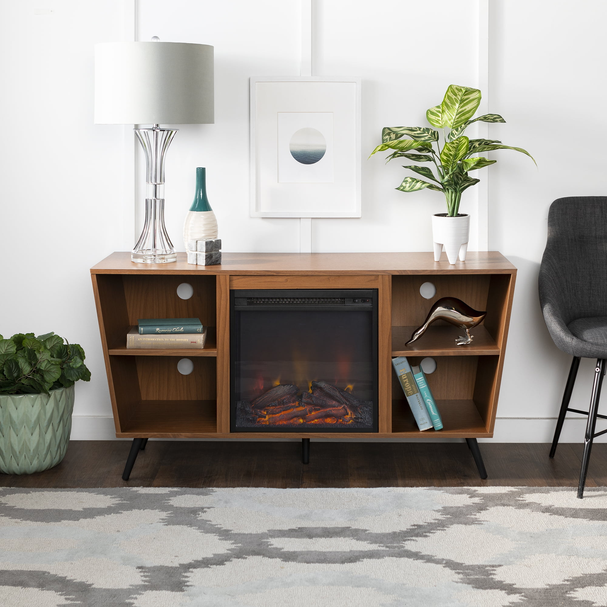 Picture of: Manor Park 52 Mid Century Modern Angled Side Fireplace Tv Stand Acorn Walmart Com Walmart Com