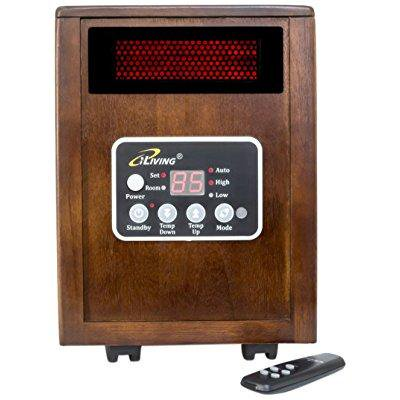 iliving infrared portable space heater with dual heating system, 1500w, remote control,