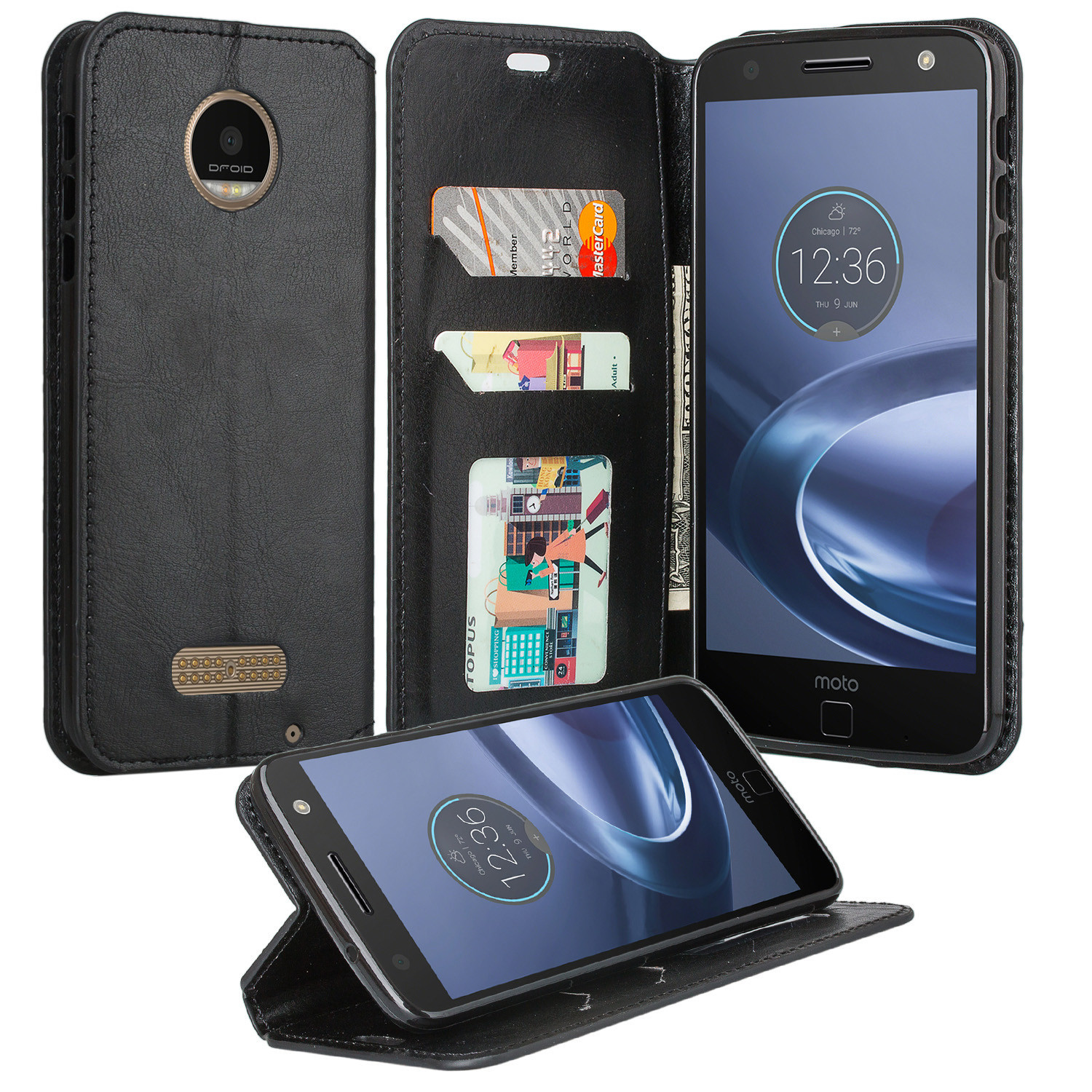 best sneakers 065b9 e2c7f Moto Z Play Droid Case, Pu Leather Magnetic Fold[Kickstand] Wallet Case  with ID & Credit Card Slots for Motorola Moto Z Play Droid - Black