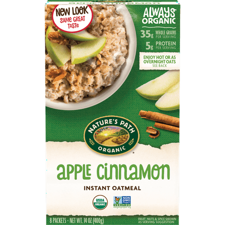 Nature's Path Apple Cinnamon Instant Oatmeal, Organic Hot Cereal, 8 Packets
