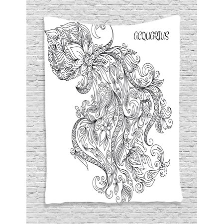 Zodiac Decor Tapestry  Swirling Curved Flowers And Bouquet With Zodiac Sign Aquarius Month Design  Wall Hanging For Bedroom Living Room Dorm Decor  60W X 80L Inches  Black White  By Ambesonne