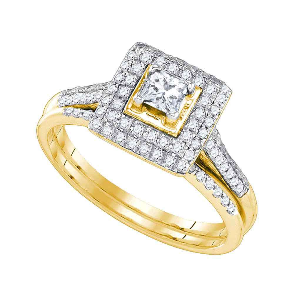 14kt Yellow Gold Womens Round Diamond Square Halo Bridal Wedding Engagement Ring Band Set (.20 cttw.) by Mia Diamonds