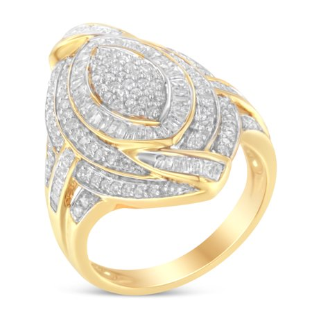 Diamond Gold Cocktail Ring - 10K Yellow Gold 1ct. TDW Diamond Cocktail Ring (I-J, I2-I3)