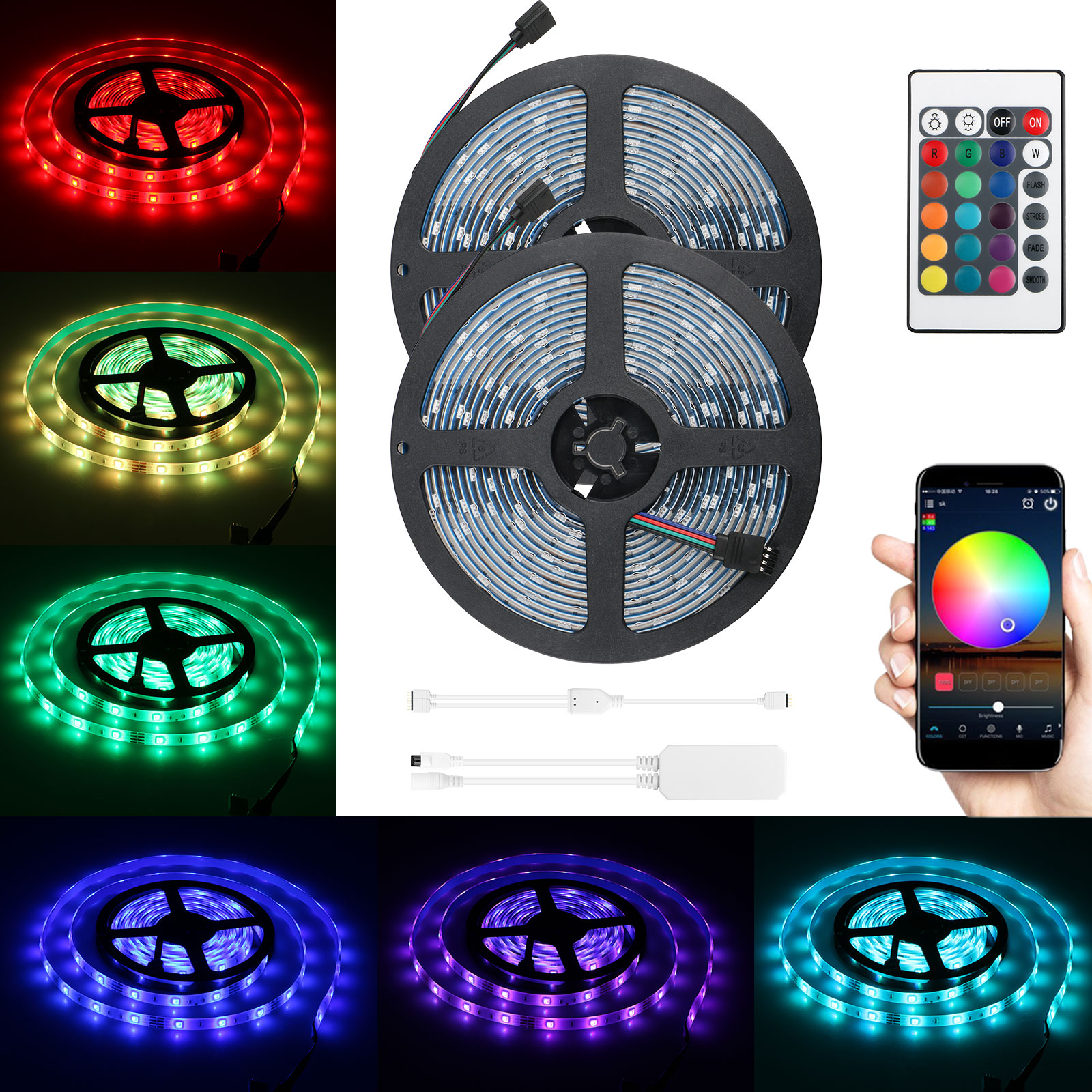2-pack RGB LED Light Strip, 32.8ft Waterproof Smart WiFi Controller Strip Light Kit 5050 SMD LED Lights Working with Android and iOS System
