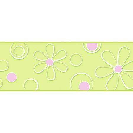 York Wallcoverings BT2700B Graphic Daisy Dot Wallpaper Border, Green Pink