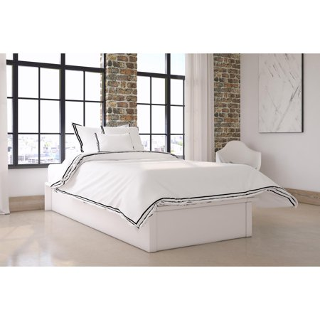 dd3893f3ff DHP Maven Platform Bed with Upholstered Faux Leather and Wooden Slat  Support, Full, White Faux Leather - Walmart.com