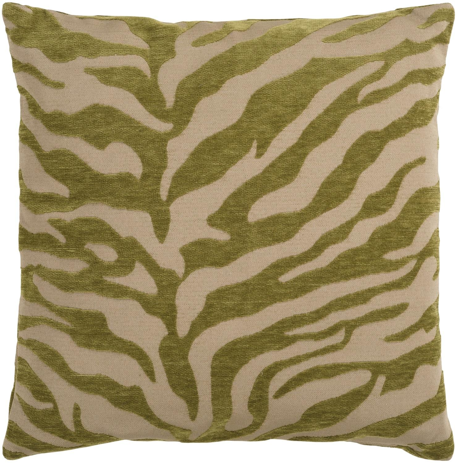 """18"""" Green and Beige Hot Animal Print Decorative Throw Pillow"""
