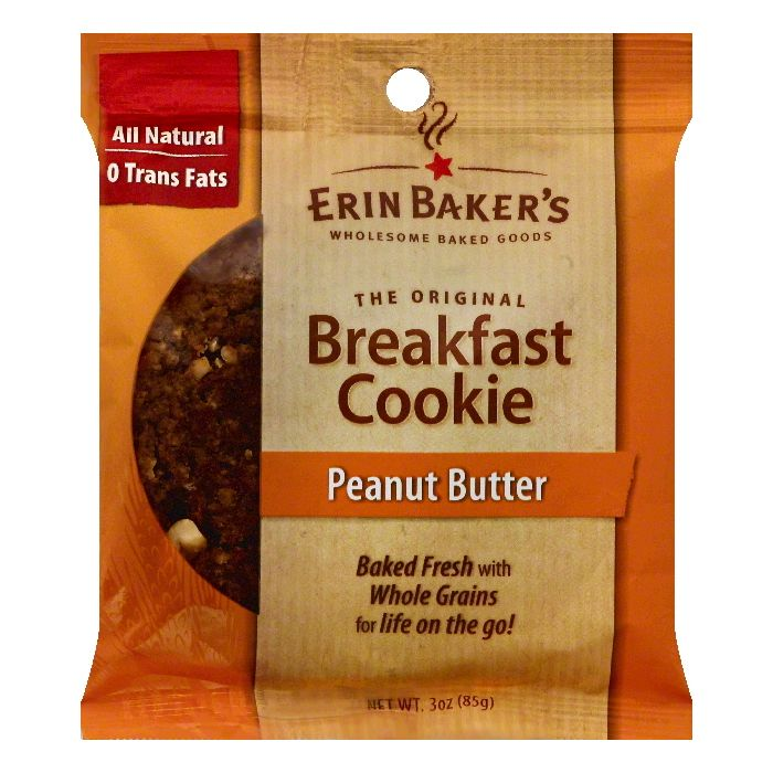 Erin Bakers Peanut Butter Breakfast Cookie, 3 OZ (Pack of 12)