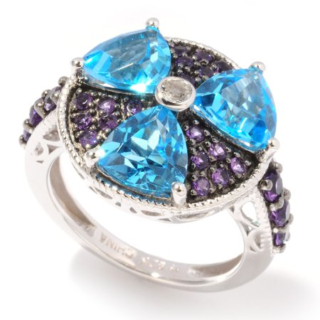 Sterling Silver 4.62ctw Swiss Blue Topaz, African Amethyst Cluster Ring, Size 7