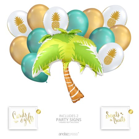 Andaz Press Tropical Party Balloon Bouquet Set, Tropical Aloha Hawaiian Luau Theme Supplies, Inflatable](Aloha Party Supplies)