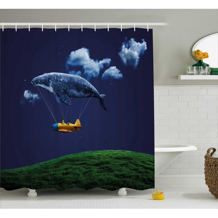 Whale Shower Curtain, Surreal Art Hot Air Balloon Aeroplane in Sky Clouds Animal Fish Nautical, Fabric Bathroom Set with Hooks, 69W X 70L Inches, Navy Blue Fern Green, by Ambesonne