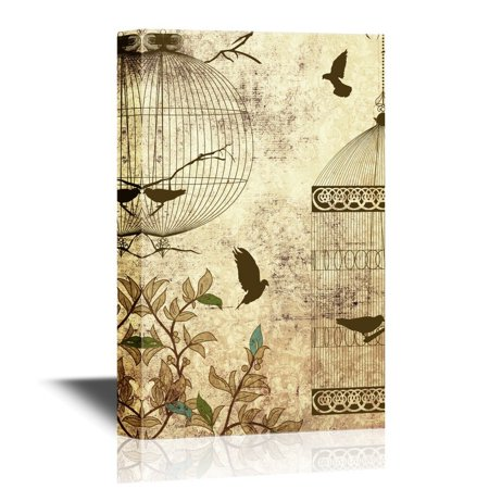 wall26 Canvas Wall Art - Flying Birds Wih Bird Cages on Vintage Background - Gallery Wrap Modern Home Decor | Ready to Hang - 16x24 inches