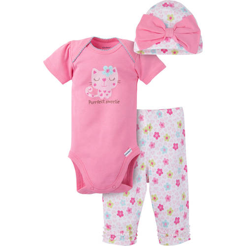 Gerber Newborn Baby Girls' 3-Piece Bodysuit, Ruffle Legging and Cap Outfit Set