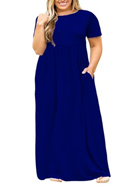 8f9af52cc43 Product Image L-5XL Plus Size Women s Solid Color Casual Long Dress with  Pocket