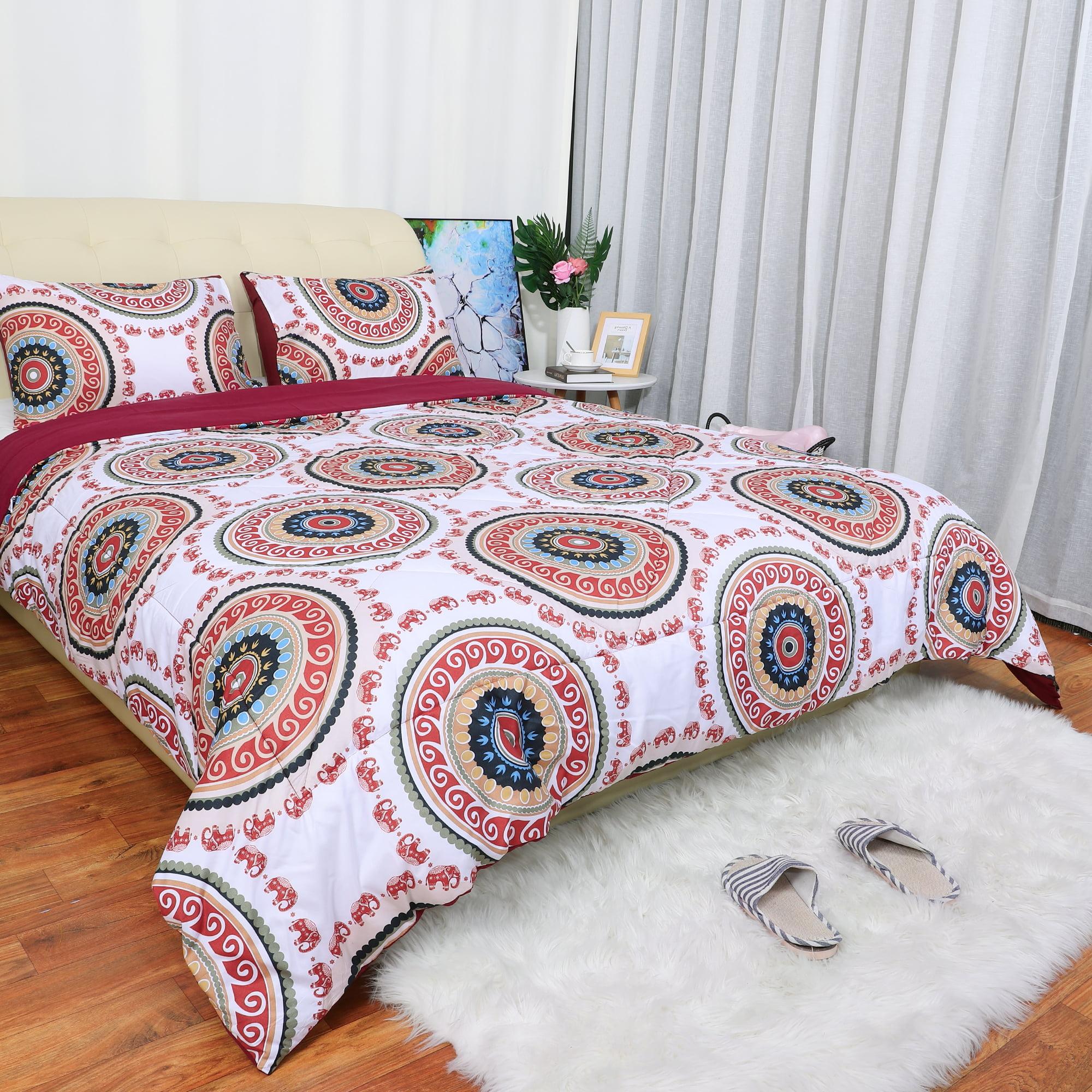 Bohemian Comforter Sets Queen With 2 Matching Pillow Shams Soft Microfiber 3 Piece Boho Mandala Quilt Set Red Queen Walmart Com Walmart Com
