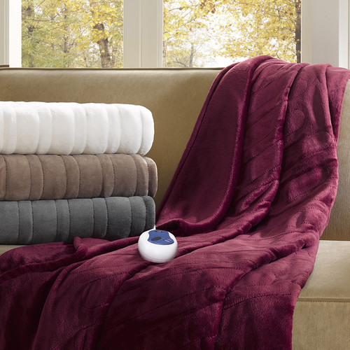 Beautyrest Heated Plush Oversized Throw