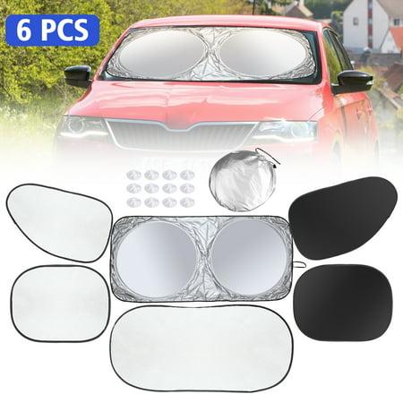 6 Pcs Car Windshield Sunshade UV Protector Folding Silvering,Car Window Sun Shade Visor Shield Cover, Sun Shade UV Reflector, Keeps Vehicle Cool, Sun Protection for Baby Auto Car SUV