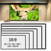60-150inch Projection Screen, 16:9 HD Foldable Anti-crease Portable Projector Movies Screen for Home Theater, Wedding Party, Office Presentation, Outdoor Indoor